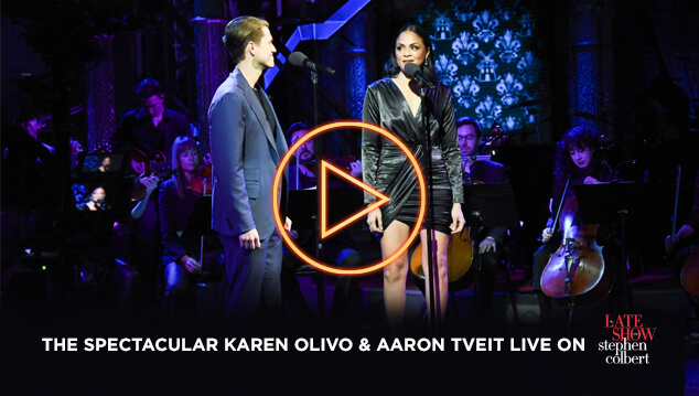 Karen and Aaron perform live on The Late Shot with Stephen Colbert.